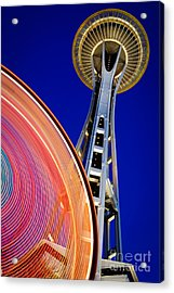 Space Needle Color Wheel Acrylic Print by Inge Johnsson