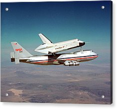 Space Shuttle Enterprise Piggyback Flight Acrylic Print by Nasa