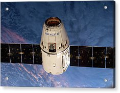 Spacex Dragon Capsule At The Iss Acrylic Print by Nasa