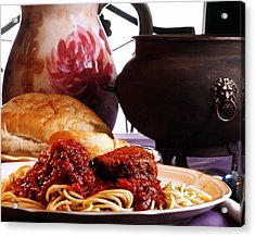 Spaghetti And Meatballs Acrylic Print by Camille Lopez