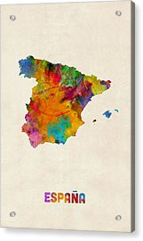 Spain Watercolor Map Acrylic Print by Michael Tompsett
