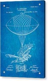 Spalding Flying Machine Patent Art 1889 Blueprint Acrylic Print by Ian Monk