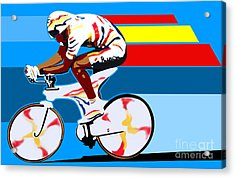 spanish cycling athlete illustration print Miguel Indurain Acrylic Print by Sassan Filsoof