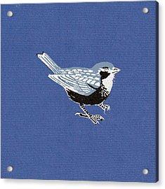 Sparrow, 2013 Woodcut Acrylic Print by Nat Morley
