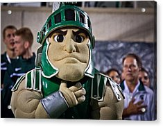 Sparty And Izzo National Anthem  Acrylic Print by John McGraw