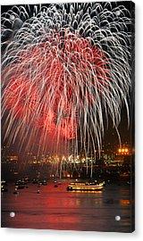 Spectator Boats Beneath A San Francisco 4th Of July Fireworks Show Acrylic Print by Scott Lenhart