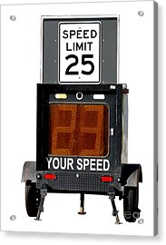 Speed Limit Monitor Acrylic Print by Olivier Le Queinec