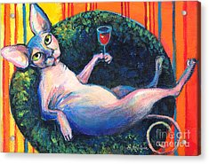 Sphynx Cat Relaxing Acrylic Print by Svetlana Novikova