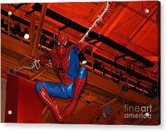 Spiderman Swinging Through The Air Acrylic Print by John Telfer