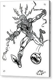 Spidey Dodges A Pumpkin Bomb Acrylic Print by John Ashton Golden