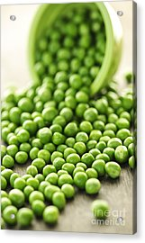 Spilled Bowl Of Green Peas Acrylic Print by Elena Elisseeva