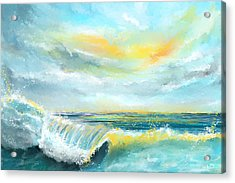 Splash Of Sun - Seascapes Sunset Abstract Painting Acrylic Print by Lourry Legarde