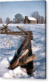 Split Rail And Nation Acrylic Print by Olivier Le Queinec
