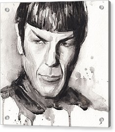 Spock Portrait Watercolor Star Trek Fan Art Acrylic Print by Olga Shvartsur