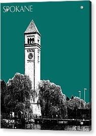 Spokane Skyline Clock Tower - Sea Green Acrylic Print by DB Artist
