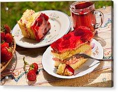 Yellow Jaffa Cake With Strawberries And Juice  Acrylic Print by Arletta Cwalina
