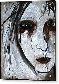 Spooky Gothic Zombie Portrait Painting Fine Art Print Acrylic Print by Laura  Carter