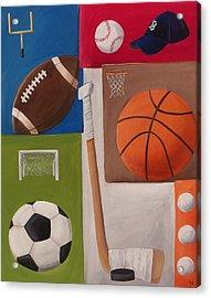 Sports Collage Acrylic Print by Tracie Davis