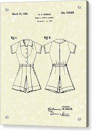 Sports Garment 1938 Patent Art Acrylic Print by Prior Art Design