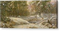 Sportsmen In A Winter Forest Acrylic Print by Pieter Gerardus van