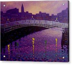 Spring Evening Ha Penny Bridge Dublin Acrylic Print by John  Nolan