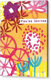 Spring Floral Invitation- Greeting Card Acrylic Print by Linda Woods