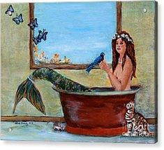 Spring Mermaid Acrylic Print by Linda Queally