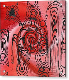 Square In Red With Black Drawing No 1 Acrylic Print by Ben and Raisa Gertsberg