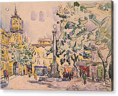 Square Of The Hotel De Ville Acrylic Print by Paul Signac