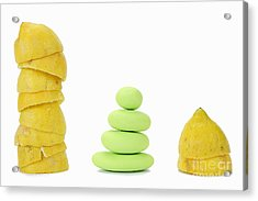 Squeezed Yellow Citrus And Pebbles Acrylic Print by Sami Sarkis
