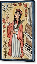 St. Cecilia With Organ And Dove Acrylic Print by Ellen Chavez de Leitner