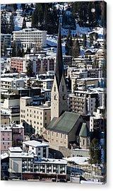 St Johann Davos Church St John Town Acrylic Print by Andy Smy
