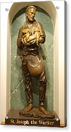 St Joseph The Worker Acrylic Print by Philip Ralley