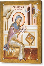 St Kassiani The Hymnographer Acrylic Print by Julia Bridget Hayes