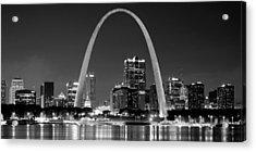 St. Louis Skyline At Night Gateway Arch Black And White Bw Panorama Missouri Acrylic Print by Jon Holiday