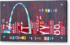 St. Louis Skyline License Plate Art Acrylic Print by Design Turnpike