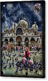 St Mark's Basilica - Feeding The Pigeons Acrylic Print by Lee Dos Santos