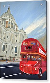 St. Paul Cathedral And London Bus Acrylic Print by Magdalena Frohnsdorff