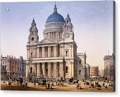 St Pauls Cathedral, Print Made By Ch Acrylic Print by Achille-Louis Martinet