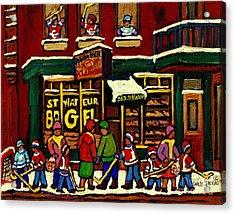 St Viateur Bagel Shop Deli Corner Depanneur Montreal Landmarks Hockey Art Paintings Carole Spandau Acrylic Print by Carole Spandau