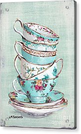 Stacked Aqua Themed Tea Cups Acrylic Print by Gail McCormack