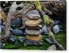 Stacked Stones A1 Acrylic Print by Marco Oliveira
