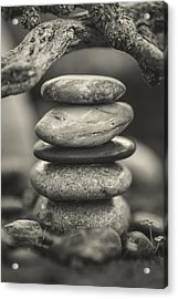 Stacked Stones Bw I Acrylic Print by Marco Oliveira