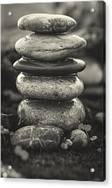 Stacked Stones Bw II Acrylic Print by Marco Oliveira