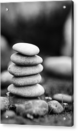 Stacked Stones Bw Iv Acrylic Print by Marco Oliveira