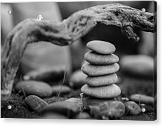 Stacked Stones Bw Vi Acrylic Print by Marco Oliveira