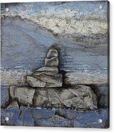 Stacking Rock Bluei Acrylic Print by Laura  Lein-Svencner