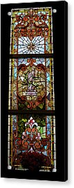 Stained Glass 3 Panel Vertical Composite 06 Acrylic Print by Thomas Woolworth