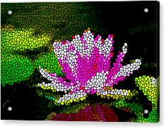 Stained Glass Pink Lotus Flower   Acrylic Print by Lanjee Chee