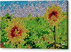 Stained Glass Sunflowers Acrylic Print by Lanjee Chee